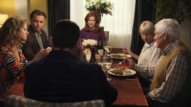 DESPERATE HOUSEWIVES - &quot;Sorry Grateful&quot; - Thanksgiving on Wisteria Lane finds Gabrielle and Carlos hosting Carmen, Hector and Grace to a bountiful feast.  But the Solis's discover some surprising news about the Sanchez's that could threaten their time with Grace. Meanwhile, Bree invites Keith's parents (John Schneider and Nancy Travis) to partake in Thanksgiving at her house and learns some family secrets; Susan butts heads with Lynette over her sleep training techniques for baby Paige; Renee continues to remind Tom about their past; and Beth tries to uncover more about Paul's past misdeeds, on &quot;Desperate Housewives,&quot; SUNDAY, NOVEMBER 14 (9:00-10:01 p.m., ET) on the ABC Television Network. (ABC/DANNY FELD)NANCY TRAVIS, JOHN SCHNEIDER, BRIAN AUSTIN GREEN, MARCIA CROSS, KATHRYN JOOSTEN, ORSON BEAN
