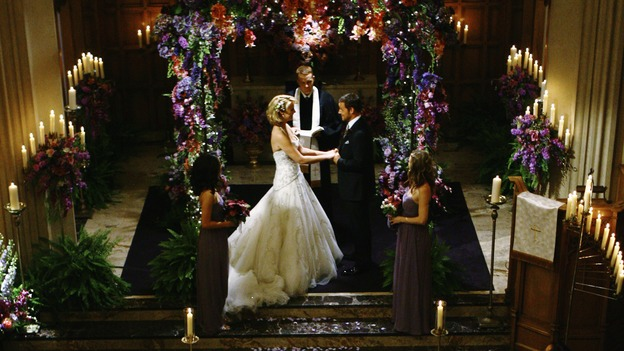 "GREY'S ANATOMY - ""What a Difference a Day Makes"" - The wedding of Izzie and Alex, on ""Grey's Anatomy,"" THURSDAY, MAY 7 (9:00-10:02 p.m., ET) on the ABC Television Network. SANDRA OH, KATHERINE HEIGL, MICKEY MAXWELL, JUSTIN CHAMBERS, ELLEN POMPEO"