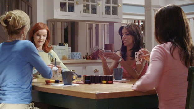 "DESPERATE HOUSEWIVES - ""Running to Stand Still"" -- Lynette locks horns with an officious mom (guest star Sharon Lawrence) at the twinsÕ school who is trying to produce a Òpolitically correctÓ play about Little Red Riding Hood. Meanwhile, Susan continues to investigate the mystery of ZachÕs sudden disappearance, Mama Solis (guest star Lupe Ontiveros) comes closer to discovering GabrielleÕs dirty little secret, and Bree comes undone when Rex suggests they hire a sex surrogate, on ÒDesperate Housewives,Ó SUNDAY, NOVEMBER 7 (9:00-10:00 p.m., ET) on the ABC Television Network. (ABC/DANNY FELD) FELICITY HUFFMAN, MARCIA CROSS, EVA LONGORIA, TERI HATCHER"