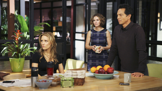 "PRIVATE PRACTICE - ""Who We Are"" -  In the first hour or a special two-hour edition of ABC's ""Private Practice,"" THURSDAY, NOVEMBER 17 (9:00-11:00 p.m., ET) -- entitled ""Who We Are"" -- the Seaside Wellness group stages an intervention for a defensive and volatile Amelia, who has resurfaced after disappearing on a 12-day drug binge with her boyfriend, Ryan. During the intervention, Amelia mercilessly attacks her friends one-by-one, and Addison, in particular, has trouble seeing her sister-in-law in her present condition. (ABC/MATT KENNEDY)KADEE STRICKLAND, AMY BRENNEMAN, BENJAMIN BRATT"