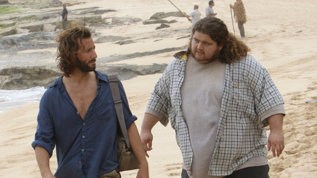 LOST - &quot;Catch-22&quot; - Desmond coaxes Charlie, Hurley and Jin on a trek across the jungle after experiencing one of his future-prophesizing &quot;flashes&quot; -- but is he purposely placing Charlie's life in harm's way? Meanwhile, Kate turns to an unwitting Sawyer after seeing Jack alone with Juliet, on &quot;Lost,&quot; WEDNESDAY, APRIL 18 (10:00-11:00 p.m., ET), on the ABC Television Network. (ABC/MARIO PEREZ)HENRY IAN CUSICK, JORGE GARCIA