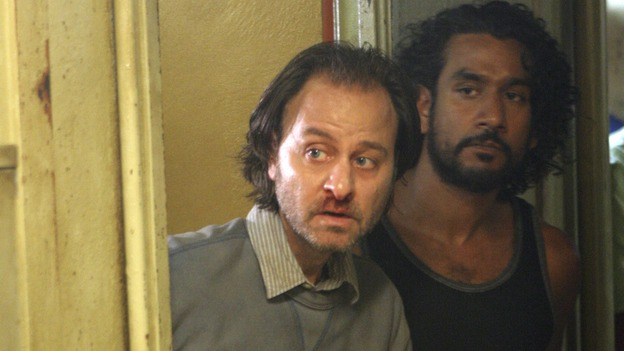 "LOST - ""The Constant"" - Sayid and Desmond hit a bit of turbulence on the way to the freighter, which causes Desmond to experience some unexpected side effects, on ""Lost,"" THURSDAY, FEBRUARY 28 (9:00-10:02 p.m., ET) on the ABC Television Network. (ABC/MARIO PEREZ) FISHER STEVENS, NAVEEN ANDREWS"