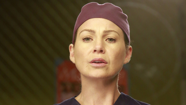 "GREY'S ANATOMY - ""Run Baby Run"" - As the rest of the doctors prepare for Bailey's wedding, Richard helps her through a bout of pre-wedding jitters. Meanwhile, Lizzie butts heads with Meredith, and Callie and Jackson try to convince Derek to participate in a risky surgery that could fix his hand, on ""Grey's Anatomy,"" THURSDAY, DECEMBER 13 (9:00-10:02 p.m., ET) on the ABC Television Network. (ABC/RON TOM) ELLEN POMPEO"
