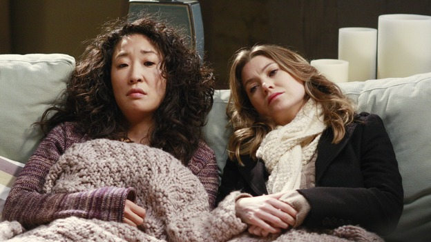 "GREY'S ANATOMY - ""I Will Follow You into the Dark"" - Meredith and Cristina comfort each other, on ""Grey's Anatomy,"" THURSDAY, MARCH 12 (9:00-10:02 p.m., ET) on the ABC Television Network. (ABC/RON TOM) SANDRA OH, ELLEN POMPEO"