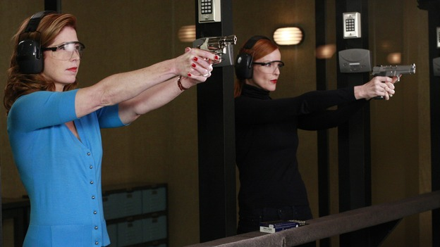"DESPERATE HOUSEWIVES - ""The Gun Song"" - Bree and Katherine hit some targets, on Desperate Housewives,"" SUNDAY, MAY 18 (9:00-10:00 p.m., ET) on the ABC Television Network. (ABC/RON TOM) DANA DELANY, MARCIA CROSS"