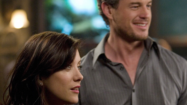 "GREY'S ANATOMY - ""Piece of My Heart"" - Addison returns to Seattle Grace to perform an operation and is taken aback by all of the changes in her old co-workers' lives. Meanwhile Meredith and Derek's clinical trial has its first patient, and Rebecca/Ava returns with shocking news for Alex, on ""Grey's Anatomy,"" THURSDAY, MAY 1 (9:00-10:01 p.m., ET) on the ABC Television Network.  (ABC/RANDY HOLMES)KATE WALSH, ERIC DANE"