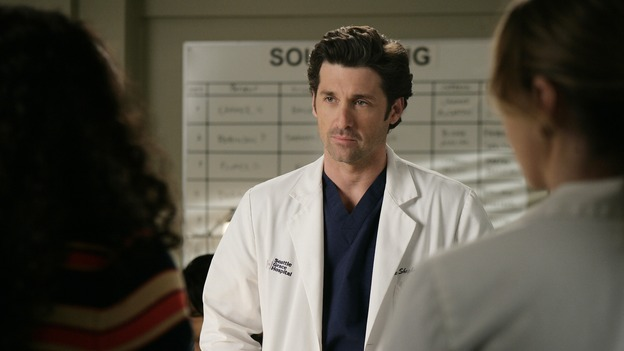"GREY'S ANATOMY - ""Losing My Mind"" - Dr. Wyatt refuses to let Meredith give up on therapy, Alex learns the truth about Rebecca's medical condition, the Chief insists that Erica perform a risky surgery on his mentor, and after receiving news of Burke, Cristina continues to do things contrary to her nature, going so far as cleaning her always-messy apartment, on ""Grey's Anatomy,"" THURSDAY, MAY 15 (9:00-10:02 p.m., ET) on the ABC Television Network. (ABC/MITCH HADDAD)APRIL GRACE, PATRICK DEMPSEY, ELLEN POMPEO"