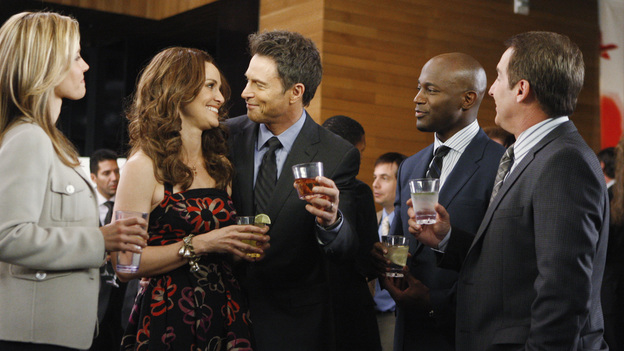 "PRIVATE PRACTICE - ""A Step Too Far"" - At the launch party for Violet's book, Sheldon falls for the smart, beautiful Dr. Marla Phillips (Alex Kingston), even though she's the critic who panned Violet's tome; meanwhile, Addison's and Pete's patient is caught in a love triangle with her brother-in-law and sister, for whom she is a surrogate, and Cooper and Sam try to convince a family to make their son's health a priority over his successful wrestling career, on ""Private Practice,"" THURSDAY, MARCH 24 (10:01-11:00 p.m., ET) on the ABC Television Network. (ABC/MICHAEL DESMOND) KADEE STRICKLAND, AMY BRENNEMAN, TIM DALY, TAYE DIGGS, BRIAN BENBEN"