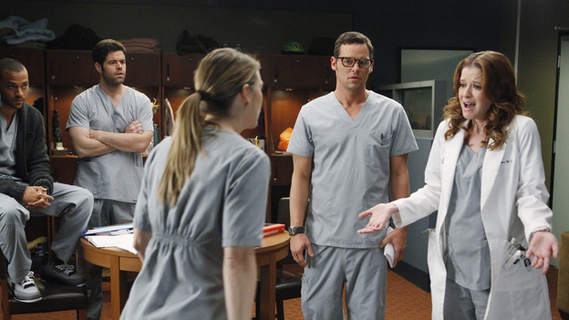 "GREY'S ANATOMY - ""If/Then"" - As Meredith puts Zola to bed and falls asleep, she begins to wonder -- what if her mother had never had Alzheimer's and she'd had loving, supportive parents? The reverberations of a happy Meredith Grey change the world of Seattle Grace as we know it. What if she had never met Derek in that bar and he had never separated from Addison? What if Callie and Owen had become a couple long before she met Arizona? And what if Bailey never evolved from the meek intern she once was? ""Grey's Anatomy"" airs THURSDAY, FEBRUARY 2 (9:00-10:02 p.m., ET) on the ABC Television Network. (ABC/VIVIAN ZINK)JESSE WILLIAMS, ROBERT BAKER, ELLEN POMPEO, JUSTIN CHAMBERS, SARAH DREW"