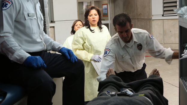 GREY'S ANATOMY - &quot;Flight&quot; - Faced with a life threatening situation, the doctors must fight to stay alive while trying to save the lives of their peers; Bailey and Ben make a decision regarding their relationship; and Teddy is presented with a tempting offer. Meanwhile, Richard plans a special dinner for the residents, on the Season Finale of &quot;Grey's Anatomy,&quot; THURSDAY, MAY 17 (9:00-10:01 p.m., ET) on the ABC Television Network. (ABC/DANNY FELD)CHANDRA WILSON, SARA RAMIREZ