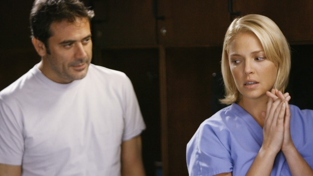 "GREY'S ANATOMY - ""Rise Up"" - Izzie begins seeing Denny, on ""Grey's Anatomy,"" THURSDAY, NOVEMBER 6 (9:00-10:01 p.m., ET) on the ABC Television Network. (ABC/SCOTT GARFIELD) JEFFREY DEAN MORGAN, KATHERINE HEIGL"