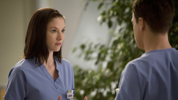 "GREY'S ANATOMY - ""Piece of My Heart"" - Addison returns to Seattle Grace to perform an operation and is taken aback by all of the changes in her old co-workers' lives. Meanwhile Meredith and Derek's clinical trial has its first patient, and Rebecca/Ava returns with shocking news for Alex, on ""Grey's Anatomy,"" THURSDAY, MAY 1 (9:00-10:01 p.m., ET) on the ABC Television Network.  (ABC/RANDY HOLMES)CHYLER LEIGH, T.R. KNIGHT"