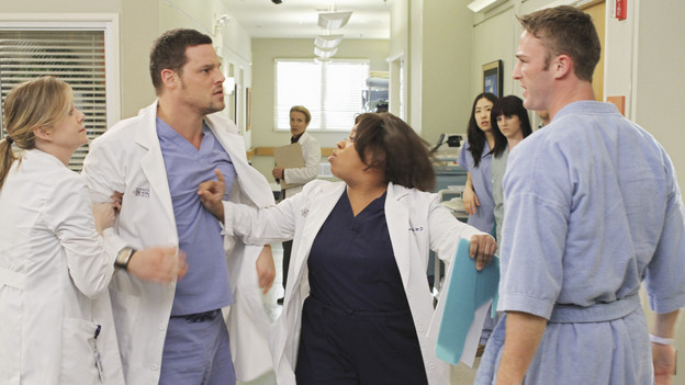 "GREY'S ANATOMY - ""Sympathy for the Parents"" - When Alex's younger brother, Aaron, shows up at Seattle Grace-Mercy West with a hernia, it's up to Alex to get Bailey's approval for his pro bono surgery. Matters are further complicated when Aaron discloses that his family has not heard from Alex since he arrived in Seattle, and parts of Alex's past long kept secret are revealed to his friends and fellow doctors, on ""Grey's Anatomy,"" THURSDAY, APRIL 1 (9:00-10:01 p.m., ET) on the ABC Television Network. (ABC/RON TOM)ELLEN POMPEO, JUSTIN CHAMBERS, CHANDRA WILSON, JAKE MCLAUGHLIN"