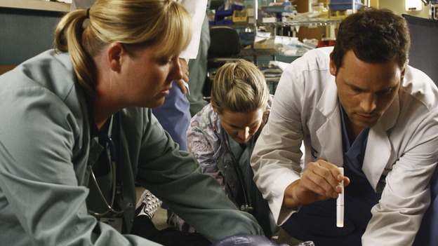 GREY'S ANATOMY - &quot;Let the Truth Sting&quot; - The new interns are dazzled by the skill level of fellow intern George, while Lexie helps keep his &quot;repeater&quot; status a secret; Meredith half-heartedly helps Lexie with her first emergency patient; Sloan and Richard attempt a radical, new surgery to save a woman's ability to speak; and George is compelled to tell Callie of his past indiscretion with Izzie, on &quot;Grey's Anatomy,&quot; THURSDAY, OCTOBER 11 (9:00-10:01 p.m., ET) on the ABC Television Network. (ABC/SCOTT GARFIELD)EDWARD HERRERA, MARTIN SPANJERS, JUSTIN CHAMBERS
