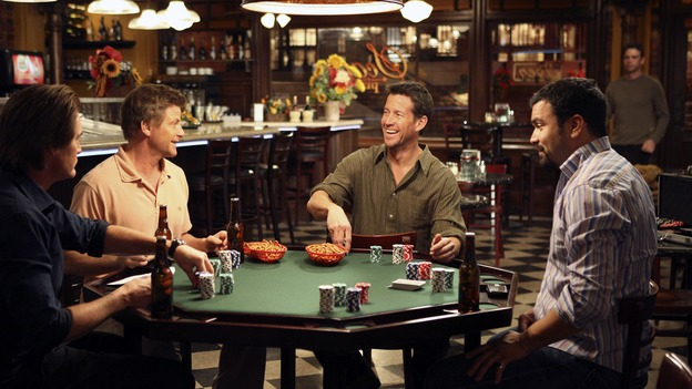 "DESPERATE HOUSEWIVES - ""My Husband, the Pig"" - The guy share a laugh while playing poker, on ""Desperate Housewives,"" SUNDAY, MARCH 4 (9:00-10:01 p.m., ET) on the ABC Television Network.  (ABC/DANNY FELD) KYLE MACLACHLAN, DOUG SAVANT, JAMES DENTON, RICARDO ANTONIO CHAVIRA, DOUGRAY SCOTT"