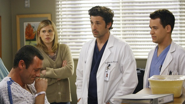 "GREY'S ANATOMY - ""Piece of My Heart"" - Addison returns to Seattle Grace to perform an operation and is taken aback by all of the changes in her old co-workers' lives. Meanwhile Meredith and Derek's clinical trial has its first patient, and Rebecca/Ava returns with shocking news for Alex, on ""Grey's Anatomy,"" THURSDAY, MAY 1 (9:00-10:01 p.m., ET) on the ABC Television Network. (ABC/SCOTT GARFIELD)JASON O'MARA, CLEA DUVALL, PATRICK DEMPSEY, T.R. KNIGHT"