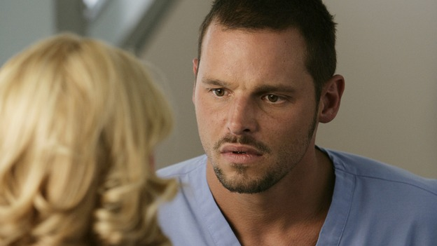 "GREY'S ANATOMY - ""Losing My Mind"" - Dr. Wyatt refuses to let Meredith give up on therapy, Alex learns the truth about Rebecca's medical condition, the Chief insists that Erica perform a risky surgery on his mentor, and after receiving news of Burke, Cristina continues to do things contrary to her nature, going so far as cleaning her always-messy apartment, on ""Grey's Anatomy,"" THURSDAY, MAY 15 (9:00-10:02 p.m., ET) on the ABC Television Network. (ABC/MITCH HADDAD)KATHERINE HEIGL, JUSTIN CHAMBERS"