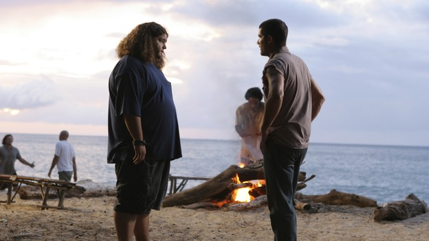 "LOST - ""Everybody Hates Hugo"" - Disturbing memories from Hurley's past cause him to struggle with a task he's assigned inside the hatch. Meanwhile Sawyer, Michael and Jin discover the identities of their captors, and Claire uncovers a shocking piece of information about the fate of the raft, on ""Lost,"" WEDNESDAY, OCTOBER 12 (9:00-10:00 p.m., ET), on the ABC Television Network. (ABC/MARIO PEREZ) JORGE GARCIA, MATTHEW FOX"