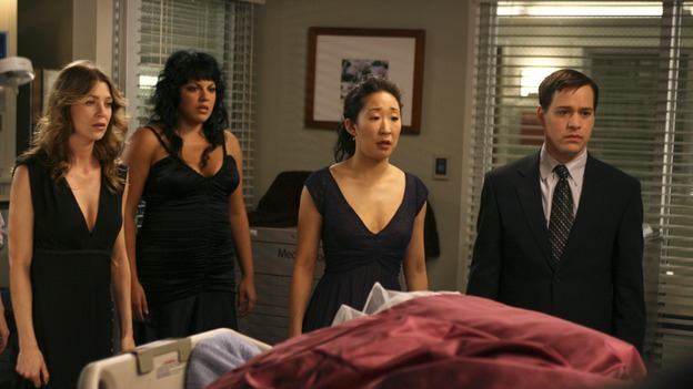 GREY'S ANATOMY - In the first hour of part two of the season finale of ABC's &quot;Grey's Anatomy&quot; -- &quot;Deterioration of the Fight or Flight Response&quot; -- Izzie and George attend to Denny as the pressure increases to find him a new heart, Cristina suddenly finds herself in charge of an ER, and Derek grapples with the realization that the life of a friend is in his hands. In the second hour, &quot;Losing My Religion,&quot; Richard goes into interrogation mode about a patient's condition, Callie confronts George about his feelings for her, and Meredith and Derek meet about Doc. Part two of the season finale of &quot;Grey's Anatomy&quot; airs MONDAY, MAY 15 (9:00-11:00 p.m., ET) on the ABC Television Network. (ABC/SCOTT GARFIELD)ELLEN POMPEO, SARA RAMIREZ, SANDRA OH, T.R. KNIGHT