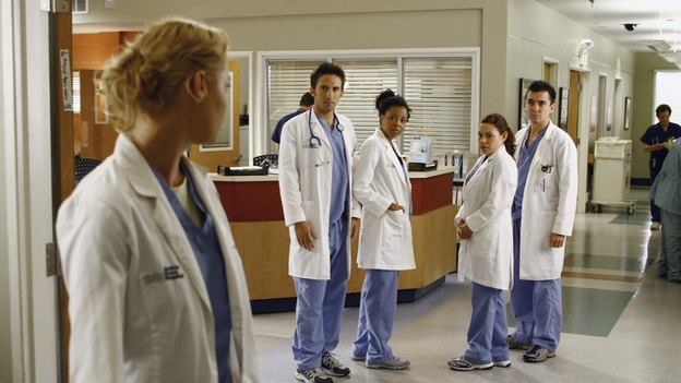 "GREY'S ANATOMY - ""A Change is Gonna Come"" - Having just returned from her honeymoon with Meredith, Cristina searches for Burke, but he's nowhere to be found. Meredith, Cristina, Izzie and Alex spend their first day as residents with their own groups of interns - among the interns are George, repeating his intern year after failing his exams, and Lexie Grey, Meredith's half-sister whom she has never met. Now that Derek's relationship with Meredith has reached an emotional impasse, he looks to his fellow doctors for friendship; Bailey wrestles with her place within the hospital now that her former interns report to new Chief Resident Callie; and Richard resumes his position as Chief of Surgery, on the season premiere of ""Grey's Anatomy,"" THURSDAY, SEPTEMBER 27 (9:00-10:01 p.m., ET) on the ABC Television Network. (ABC/SCOTT GARFIELD)KATHERINE HEIGL, RICHARD KEITH, TYMBERLEE CHANEL, GLORIA GARAYUA, WINSTON STORY"