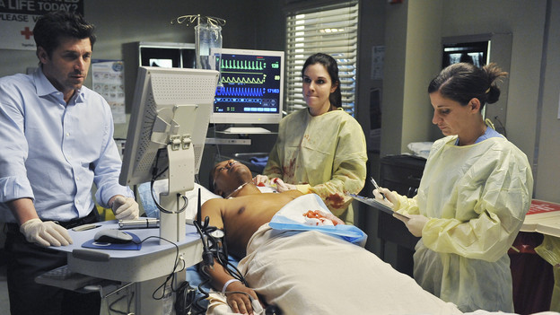 GREY'S ANATOMY - &quot;Valentine's Day Massacre&quot; -- It's Valentine's Day, and the doctors must treat dozens of injured people after the roof collapses at a popular romantic restaurant; Derek tries to manage his busy schedule as Chief of Surgery; Meredith wrestles with her new duties as the Chief's wife; and Mark and Callie team up to convince Sloan to do the right thing for her baby, on &quot;Grey's Anatomy,&quot; THURSDAY, FEBRUARY 11 (9:00-10:01 p.m., ET) on the ABC Television Network. (ABC/ERIC MCCANDLESS)PATRICK DEMPSEY