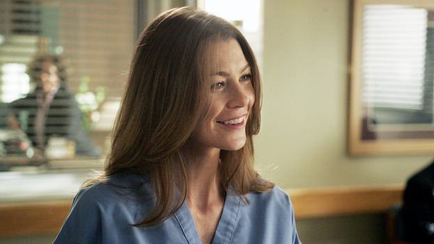 "GREY'S ANATOMY - ""I Am a Tree"" - Cristina meets Burke's parents -- and in the most awkward of circumstances -- the interns campaign for Izzie's reinstatement to the surgical intern program, Addison takes a break from her hospital duties, and a surgical patient lives what may be her last day to the fullest, on ""Grey's Anatomy,"" THURSDAY, SEPTEMBER 28 (9:00-10:01 p.m., ET) on the ABC Television Network. (ABC/VIVIAN ZINK)ELLEN POMPEO"