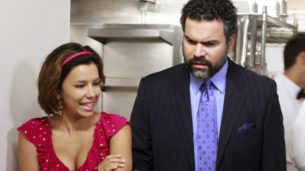"DESPERATE HOUSEWIVES - ""We're So Happy You're Happy"" - Gaby and Carlos discussing their game plan for the big dinner."