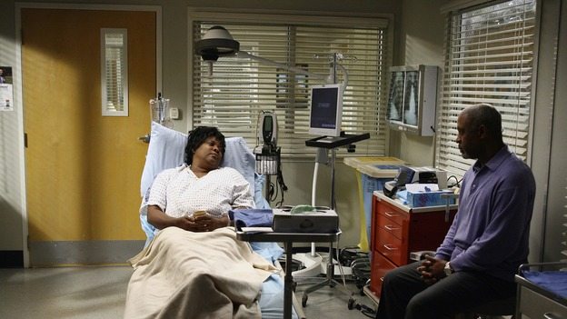 GREY'S ANATOMY - &quot;Didn't We Almost Have It All&quot; - Cristina and Burke's wedding day arrives - along with the interns' first exam results - and a successor to the Chief is named, as Callie and George make a big decision about their relationship, on the Season Finale of &quot;Grey's Anatomy,&quot; THURSDAY, MAY 17 (9:00-10:07 p.m., ET) on the ABC Television Network. (ABC/SCOTT GARFIELD)LORETTA DEVINE, JAMES PICKENS, JR.