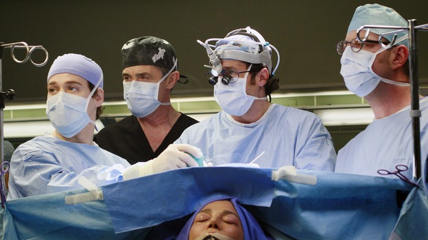 "GREY'S ANATOMY - ""Scars and Souvenirs"" - The race for chief heats up after a new competitor enters the fray, tensions escalate between Izzie and George, and Callie must reveal a big secret. Meanwhile, Derek treats a patient near and dear to him, while Alex continues his work with Jane Doe, on ""Grey's Anatomy,"" THURSDAY, MARCH 15 (9:00-10:01 p.m., ET) on the ABC Television Network. (ABC/RON TOM)T.R. KNIGHT, ROGER REES, PATRICK DEMPSEY, SHOHREH AGHDASHLOO"
