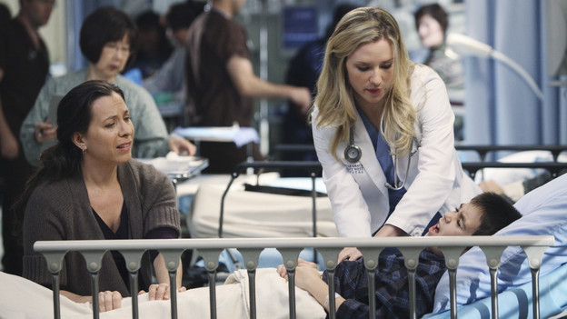 "GREY'S ANATOMY - ""Push"" - A patient who needs an extremely difficult surgery comes to Seattle Grace, and it's Richard and Owen who vie for the opportunity to tackle it. But the decision lies in the hands of Derek, who deems that Owen should take on the surgery, leaving Richard bitter. Meanwhile, Bailey deals with her own personal struggles when she nervously prepares for another date with Ben, on ""Grey's Anatomy,"" THURSDAY, MARCH 11 (9:00-10:01 p.m., ET) on the ABC Television Network. (ABC/ADAM LARKEY)MOON ZAPPA, CHYLER LEIGH, AIDAN WALTER"