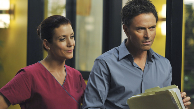 "PRIVATE PRACTICE - ""Past Tense"" - An office election pits Sam and Naomi against each other to lead the practice, and ends with surprising results, while Addison treats a young Afghan girl who wants to hide her past, and Cooper's objectionable personal life catches up with his professional one, on ""Private Practice,"" WEDNESDAY, OCTOBER 29 (9:00-10:01 p.m., ET) on the ABC Television Network. (ABC/ERIC McCANDLESS)KATE WALSH, TIM DALY"