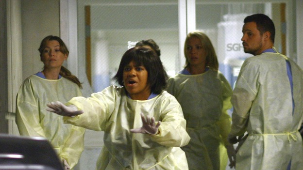 "GREY'S ANATOMY - ""Dream a Little Dream of Me"" - On the two-hour season premiere of ""Grey's Anatomy,"" Meredith and Derek learn that ""happily ever after"" isn't easy, a military doctor who brings in a trauma patient catches Cristina's eye, and the Chief and his staff reel at the news that Seattle Grace is no longer nationally ranked as a top-tier teaching hospital, on ""Grey's Anatomy,"" THURSDAY, SEPTEMBER 25 (9:00-11:00 p.m., ET) on the ABC Television Network. (ABC/SCOTT GARFIELD)ELLEN POMPEO, CHANDRA WILSON, KATHERINE HEIGL, JUSTIN CHAMBERS"