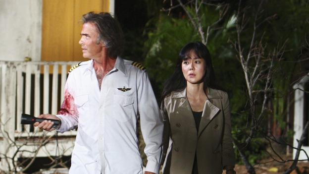 "LOST - ""Namaste"" - When some old friends drop in unannounced, Sawyer is forced to further perpetuate his lie in order to protect them, on ""Lost,"" WEDNESDAY, MARCH 18 (9:00-10:02 p.m., ET) on the ABC Television Network. (ABC/MARIO PEREZ)JEFF FAHEY, YUNJIN KIM"