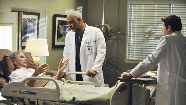 "GREY'S ANATOMY - ""Perfect Little Accident"" - When famous surgeon Dr. Harper Avery is rushed to Seattle Grace-Mercy West, the staff is surprised to discover that one of their own is related to this legend, and his unorthodox request for his surgery causes tensions between Derek and Richard. Meanwhile Callie and Arizona try to help Teddy and Sloan move on from their pasts and find greener pastures, on ""Grey's Anatomy,"" THURSDAY, MARCH 4 (9:00-10:01 p.m., ET) on the ABC Television Network. (ABC/ERIC MCCANDLESS)CHELCIE ROSS, JAMES PICKENS JR., PATRICK DEMPSEY"