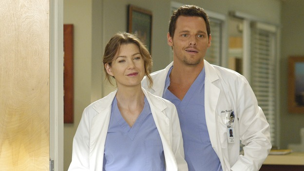 GREY'S ANATOMY - &quot;Let the Truth Sting&quot; - The new interns are dazzled by the skill level of fellow intern George, while Lexie helps keep his &quot;repeater&quot; status a secret; Meredith half-heartedly helps Lexie with her first emergency patient; Sloan and Richard attempt a radical, new surgery to save a woman's ability to speak; and George is compelled to tell Callie of his past indiscretion with Izzie, on &quot;Grey's Anatomy,&quot; THURSDAY, OCTOBER 11 (9:00-10:01 p.m., ET) on the ABC Television Network.  (ABC/GALE ADLER)ELLEN POMPEO, JUSTIN CHAMBERS