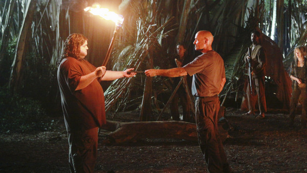 "LOST - ""Everybody Loves Hugo"" - Hurley agonizes over what the group should do next, and Locke is curious about the new arrival to his camp, on ""Lost,"" TUESDAY, APRIL 13 (9:00-10:02 p.m., ET) on the ABC Television Network. (ABC/MARIO PEREZ) JORGE GARCIA, TERRY O'QUINN"