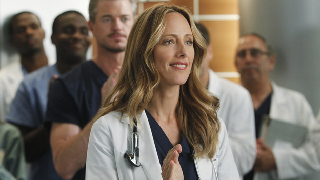 "GREY'S ANATOMY - ""With You I'm Born Again"" -- After an unforgettable and heart-pounding season finale, ""Grey's Anatomy"" returns for its seventh season on THURSDAY, SEPTEMBER 23 (9:00-10:01 p.m., ET) on the ABC Television Network. In the season premiere, the hospital staff is trying to deal with physical and emotional trauma in the wake of the deadly rampage of a vengeful gunman. As Dr. Perkins (James Tupper), a trauma counselor, is brought in to help in the recovery and to assess each doctor's readiness to return to work, Derek makes a spontaneous decision to resign as Chief and rushes back into surgery, taking everything a little too fast, and Cristina buries herself in her wedding planning. (ABC/PETER ""HOPPER"" STONE)ERIC DANE, KIM RAVER"