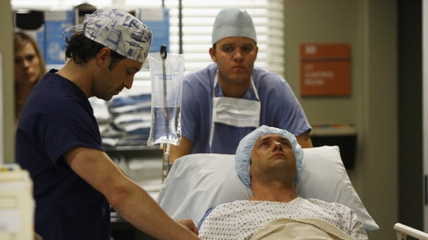 "GREY'S ANATOMY - ""Piece of My Heart"" - Addison returns to Seattle Grace to perform an operation and is taken aback by all of the changes in her old co-workers' lives. Meanwhile Meredith and Derek's clinical trial has its first patient, and Rebecca/Ava returns with shocking news for Alex, on ""Grey's Anatomy,"" THURSDAY, MAY 1 (9:00-10:01 p.m., ET) on the ABC Television Network.  (ABC/SCOTT GARFIELD)PATRICK DEMPSEY, JASON O'MARA"