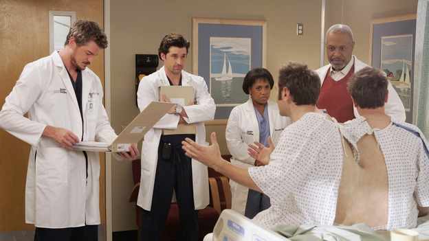 "GREY'S ANATOMY - ""Don't Stand So Close to Me"" - Recent events strain Burke and Cristina's relationship, Meredith's half-sister, Molly, is admitted to the hospital, and Mark and Sloan must work together when two close-knit brothers seek medical help, on ""Grey's Anatomy,"" THURSDAY, NOVEMBER 30 (9:00-10:01 p.m., ET) on the ABC Television Network. (ABC/VIVIAN ZINK)ERIC DANE, PATRICK DEMPSEY, CHANDRA WILSON, RANDY SKLAR, JAMES PICKENS, JR., JASON SKLAR"