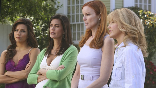 "DESPERATE HOUSEWIVES - ""Mother Said"" - The housewives excommunicate Edie from the neighborhood, on Desperate Housewives,"" SUNDAY, MAY 11 (9:00-10:02 p.m., ET) on the ABC Television Network.  (ABC/DANNY FELD) EVA LONGORIA PARKER, TERI HATCHER, MARCIA CROSS, FELICITY HUFFMAN"