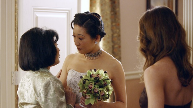 "GREY'S ANATOMY - ""Didn't We Almost Have It All"" - Cristina and Burke's wedding day arrives - along with the interns' first exam results - and a successor to the Chief is named, as Callie and George make a big decision about their relationship, on the Season Finale of ""Grey's Anatomy,"" THURSDAY, MAY 17 (9:00-10:07 p.m., ET) on the ABC Television Network. (ABC/SCOTT GARFIELD)TSAI CHIN, SANDRA OH, ELLEN POMPEO"