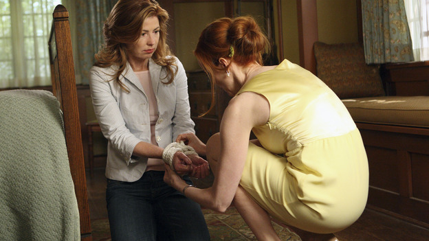 "DESPERATE HOUSEWIVES - ""Desperate Housewives"" concludes the season in fitting fashion with a dramatic two-hour Season Finale, SUNDAY, MAY 18 (9:00-11:00 p.m, ET) on the ABC Television Network. In the second hour, ""Free"" (10:00-11:00 p.m.), Bree works to free Katherine. (ABC/CRAIG SJODIN) DANA DELANY, MARCIA CROSS"