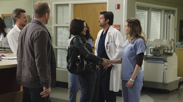 "GREY'S ANATOMY - ""Superfreak"" - When Derek receives an unexpected and unwelcome visit from his estranged sister, Amelia, issues between the siblings -- both past and present -- come to the surface; the Chief tries to help Alex when he notices that he's refusing to use the elevators after his near-fatal shooting; and Meredith and Derek continue their efforts to ease Cristina back into surgery after her post-traumatic stress, on ""Grey's Anatomy,"" THURSDAY, OCTOBER 7 (9:00-10:01 p.m., ET) on the ABC Television Network. (ABC/RICHARD CARTWRIGHT)ERIC DANE, SEAN CARRIGAN, CATERINA SCORSONE, PATRICK DEMPSEY, ELLEN POMPEO"