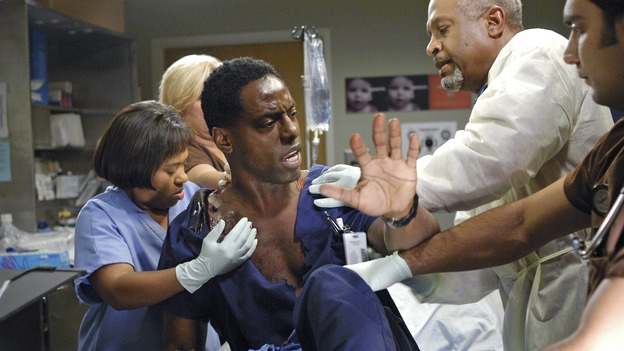 GREY'S ANATOMY - In the first hour of part two of the season finale of ABC's &quot;Grey's Anatomy&quot; -- &quot;Deterioration of the Fight or Flight Response&quot; -- Izzie and George attend to Denny as the pressure increases to find him a new heart, Cristina suddenly finds herself in charge of an ER, and Derek grapples with the realization that the life of a friend is in his hands. In the second hour, &quot;Losing My Religion,&quot; Richard goes into interrogation mode about a patient's condition, Callie confronts George about his feelings for her, and Meredith and Derek meet about Doc. Part two of the season finale of &quot;Grey's Anatomy&quot; airs MONDAY, MAY 15 (9:00-11:00 p.m., ET) on the ABC Television Network. (ABC/GALE ADLER)CHANDRA WILSON, ISAIAH WASHINGTON, JAMES PICKENS, JR.