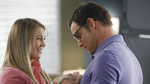 GREY'S ANATOMY - &quot;If/Then&quot; - As Meredith puts Zola to bed and falls asleep, she begins to wonder -- what if her mother had never had Alzheimer's and she'd had loving, supportive parents? The reverberations of a happy Meredith Grey change the world of Seattle Grace as we know it. What if she had never met Derek in that bar and he had never separated from Addison? What if Callie and Owen had become a couple long before she met Arizona? And what if Bailey never evolved from the meek intern she once was? &quot;Grey's Anatomy&quot; airs THURSDAY, FEBRUARY 2 (9:00-10:02 p.m., ET) on the ABC Television Network. (ABC/VIVIAN ZINK)ELLEN POMPEO, JUSTIN CHAMBERS