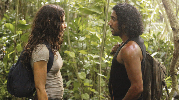LOST - &quot;Sundown&quot; - Sayid is faced with a difficult decision, and Claire sends a warning to the temple inhabitants, on &quot;Lost,&quot; TUESDAY, MARCH 2 (9:00-10:00 p.m., ET) on the ABC Television Network. (ABC/MARIO PEREZ)EVANGELINE LILLY, NAVEEN ANDREWS