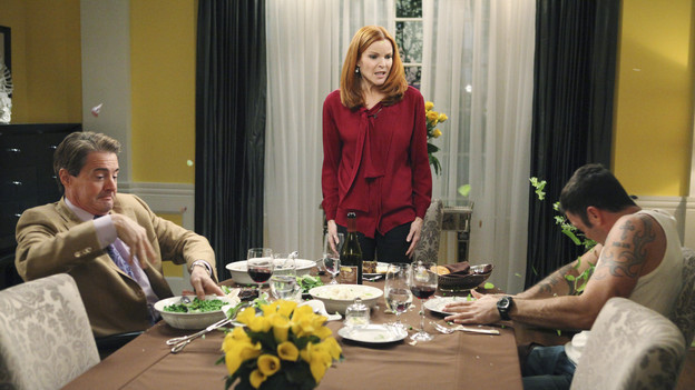 "DESPERATE HOUSEWIVES - ""Assassins"" - Susan's life hangs in the balance after being trampled by the rioting mob on Wisteria Lane; the fate of Paul Young is revealed following the aftermath of the riot, but who shot him?; Keith moves in with Bree but is shocked when Orson pays a surprise visit; Gaby finds it difficult to purge all traces of Grace from her life in order to repair her relationship with Juanita; and Renee wrestles with telling Lynette the truth about her past with Tom, on ""Desperate Housewives,"" SUNDAY, JANUARY 2 (9:00-10:01 p.m., ET) on the ABC Television Network. (ABC/DANNY FELD)KYLE MACLACHLAN, MARCIA CROSS, BRIAN AUSTIN GREEN"