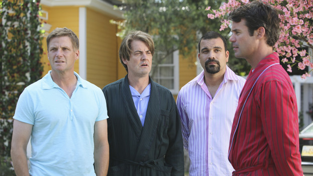 "DESPERATE HOUSEWIVES - ""Being Alive"" - A pall is cast over Wisteria Lane in the wake of a brutal attack, on ""Desperate Housewives,"" SUNDAY, OCTOBER 4 (9:00-10:01 p.m., ET) on the ABC Television Network. As the citizens of Fairview try to make sense of a recent attack in their neighborhood, Lynette withholds a secret from Susan, Gaby gives niece Ana advice on how to get a guy's attention, Bree worries how her affair with Karl will affect her friendship with Susan, and Angie is determined to protect her son and her family's past. (ABC/DANNY FELD)DOUG SAVANT, KYLE MACLACHLAN, RICARDO ANTONIO CHAVIRA, TUC WATKINS"