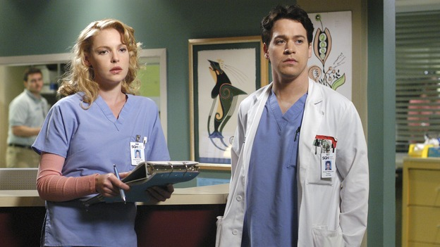 GREY'S ANATOMY - &quot;Desire&quot; - As the interns of Seattle Grace cram for their upcoming exam, the attendings vie for the Chief's position by tending to the chairman of the hospital board after he's admitted as a patient. Meanwhile, Burke struggles to involve Cristina in the wedding planning, things heat up between Addison and Alex, and Derek questions his relationship with Meredith, on &quot;Grey's Anatomy,&quot; THURSDAY, APRIL 26 (9:00-10:01 p.m., ET) on the ABC Television Network. (ABC/GALE ADLER)KATHERINE HEIGL, T.R. KNIGHT