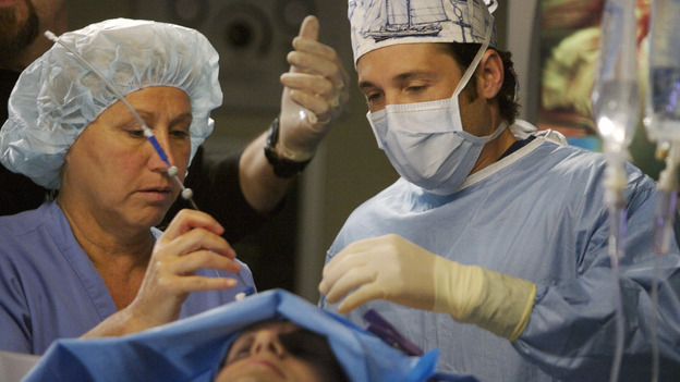 "GREY'S ANATOMY - ""Piece of My Heart"" - Addison returns to Seattle Grace to perform an operation and is taken aback by all of the changes in her old co-workers' lives. Meanwhile Meredith and Derek's clinical trial has its first patient, and Rebecca/Ava returns with shocking news for Alex, on ""Grey's Anatomy,"" THURSDAY, MAY 1 (9:00-10:01 p.m., ET) on the ABC Television Network.  (ABC/SCOTT GARFIELD)JASON O'MARA, PATRICK DEMPSEY"